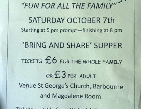 Ceilidh at St George's Sat 7 Oct 5 to 8pm with bring & share supper