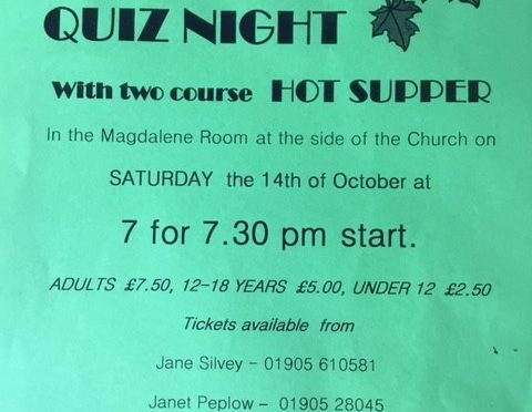 Autumn Quiz Evening on Saturday October 14th in the Magdalene Room at 7 for a prompt start at 7.30.