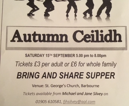 AUTUMN CEILIDH @ St George's Sat 15th Sept 5-8pm with Bring and Share supper