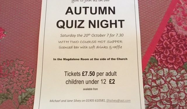 Autumn Quiz Evening Sat 20th Oct 7 for 7.30pm to include two course supper.
